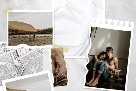 Plantilla de diseño de Happy couple Love Story Mood Board