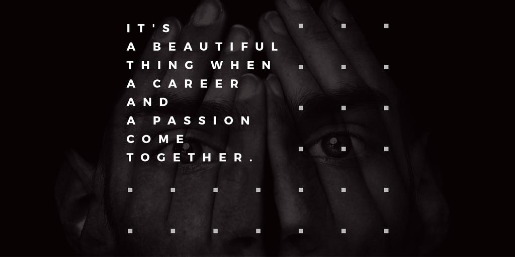 Citation about career and passion Twitter Modelo de Design