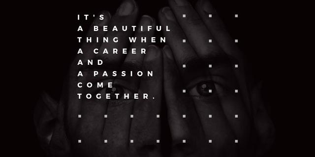 Citation about career and passion Twitter Design Template