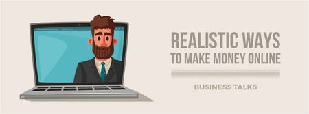 Plantilla de diseño de Businessman speaking on laptop screen Facebook Video cover