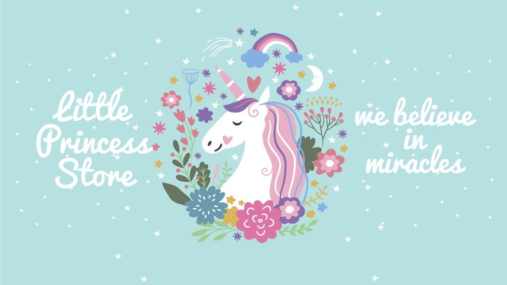 Unicorn in flowers frame — Crea un design