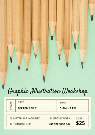 Modèle de visuel Illustration Workshop with Graphite Pencils on Blue - Poster