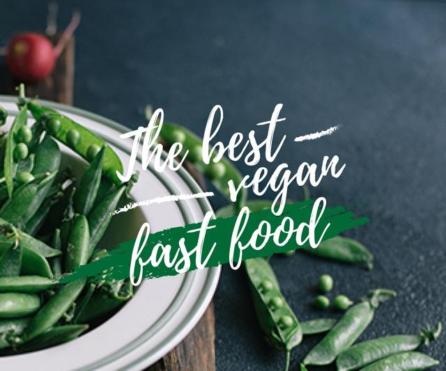 Template di design best vegan fast food poster with peas Large Rectangle