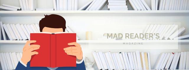 Man reading book in library Facebook Video cover – шаблон для дизайну