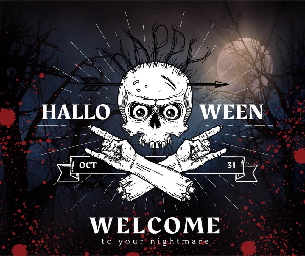 Halloween party invitation with scary Skeleton — Crear un diseño