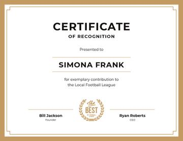 Football League contribution Recognition in golden