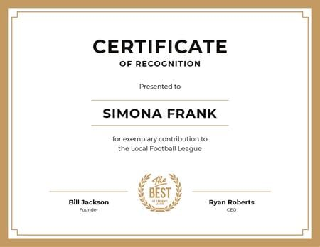 Plantilla de diseño de Football League contribution Recognition in golden Certificate