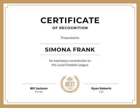 Football League contribution Recognition in golden Certificate Design Template