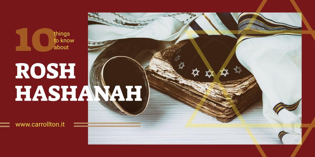 Rosh Hashanah Greeting Shofar and Torah — Modelo de projeto