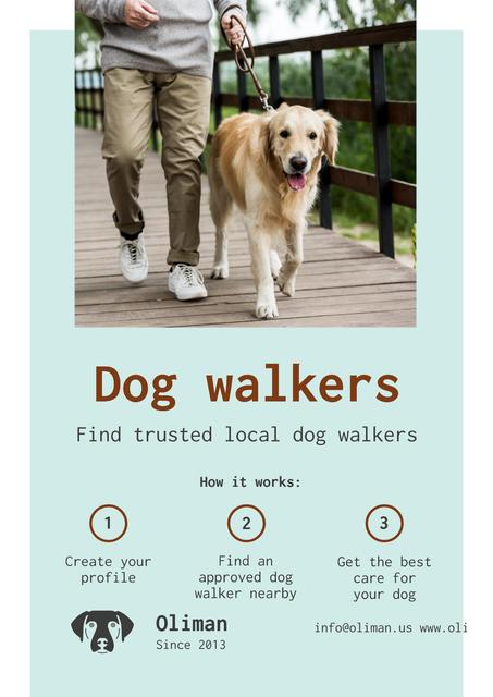 Dog Walking Services with Man with Golden Retriever Posterデザインテンプレート