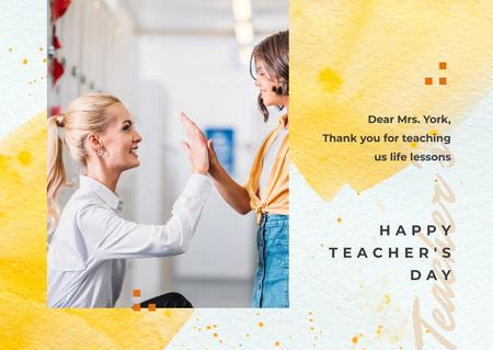Plantilla de diseño de Teacher giving kid high five on Teacher's Day Postcard