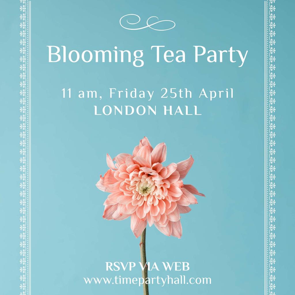 Tea Party invitation with Pink flower — Создать дизайн