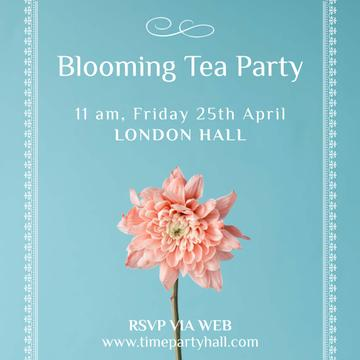 Tea Party invitation with Pink flower