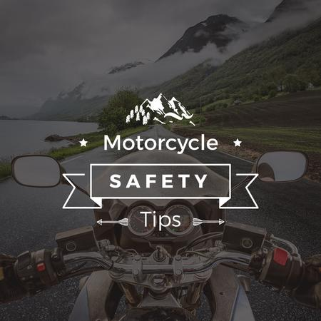 Ontwerpsjabloon van Instagram AD van Motorcycle safety tips with Bike on road