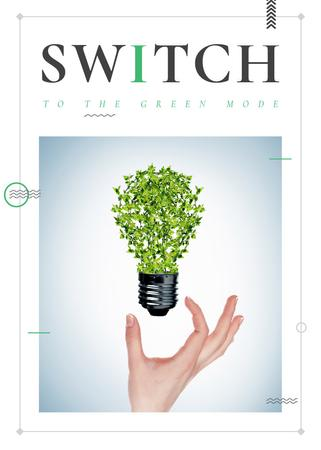 Plantilla de diseño de Eco Light Bulb with Leaves Flayer