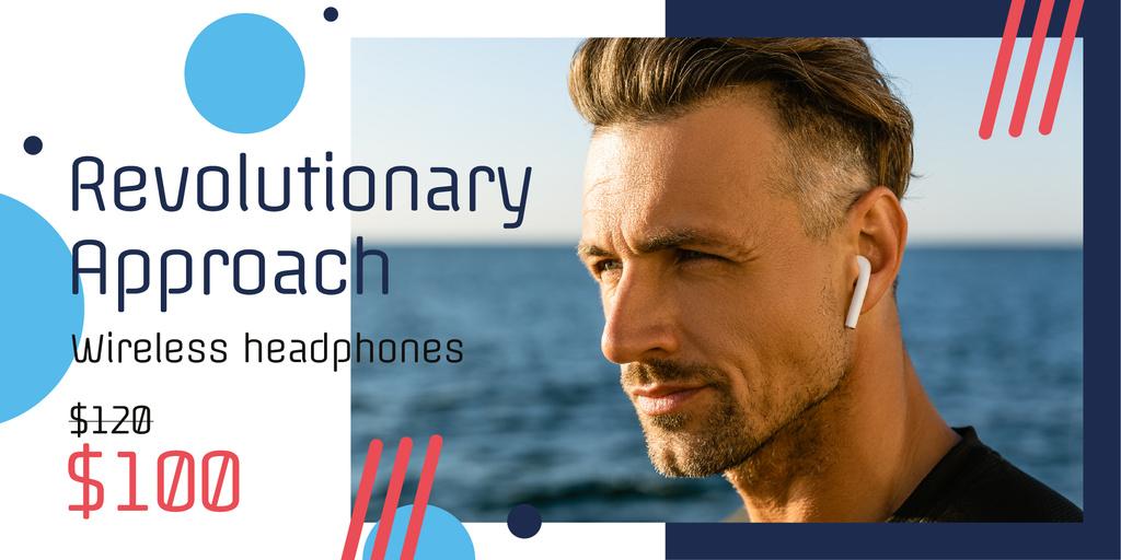 Plantilla de diseño de Wireless Headphones Ad with Man Listening Music Twitter