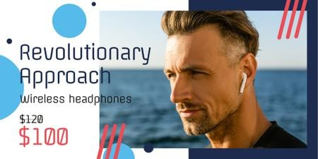 Wireless Headphones Ad with Man Listening Music Twitter Design Template