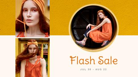 Ontwerpsjabloon van FB event cover van Fashion Sale stylish Woman in Orange