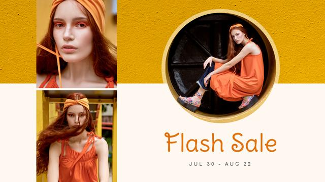 Fashion Sale stylish Woman in Orange FB event cover Modelo de Design