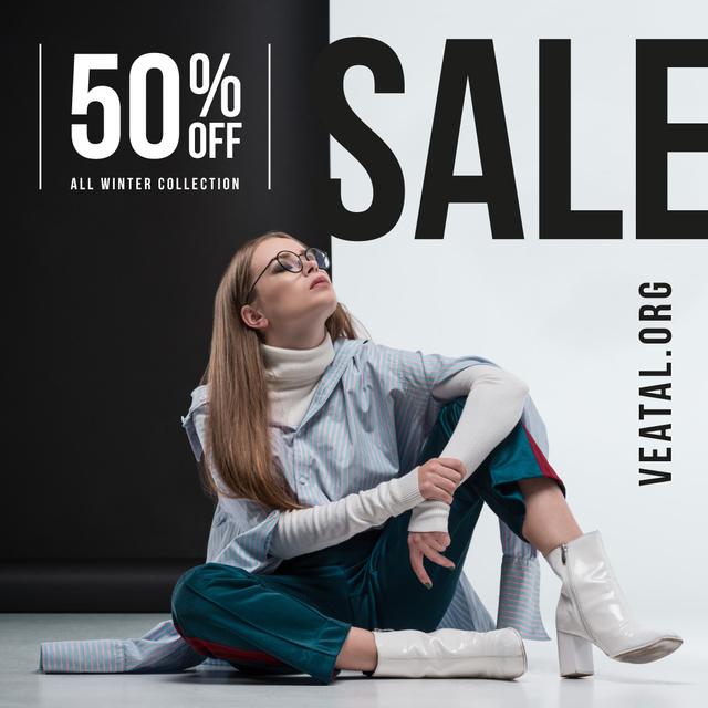 Modèle de visuel Fashion Sale Woman in Stylish Outfit - Instagram