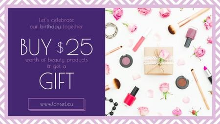 Szablon projektu Birthday Offer Cosmetics Set in Pink FB event cover