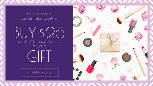 Szablon projektu Birthday Offer Cosmetics Set in Pink FB event cover