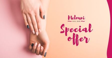 Ontwerpsjabloon van Facebook AD van Manicure Services Offer with Tender Female Hands