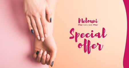 Manicure Services Offer with Tender Female Hands Facebook AD Design Template