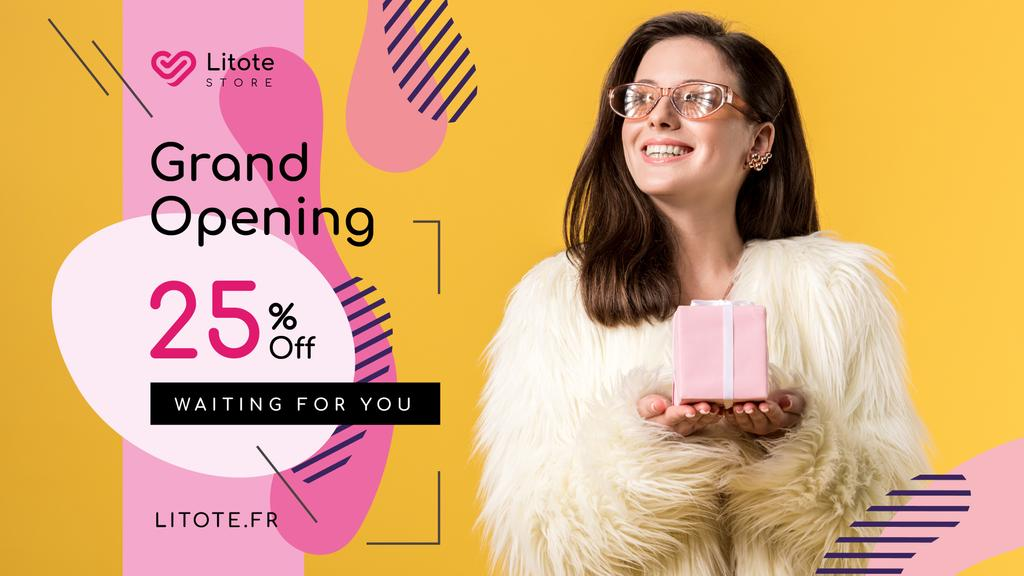 Store Opening Announcement Woman with Gift Box — ein Design erstellen
