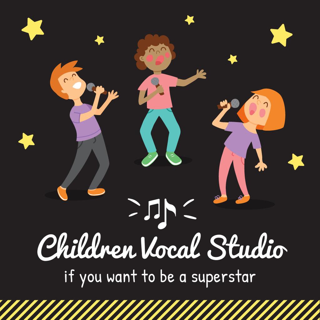 Children with mics singing — Crear un diseño