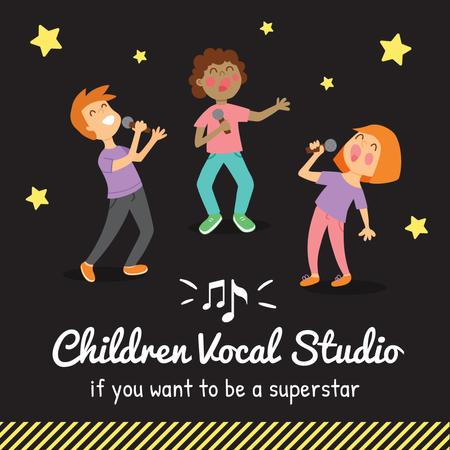 Modèle de visuel Children with mics singing - Instagram AD