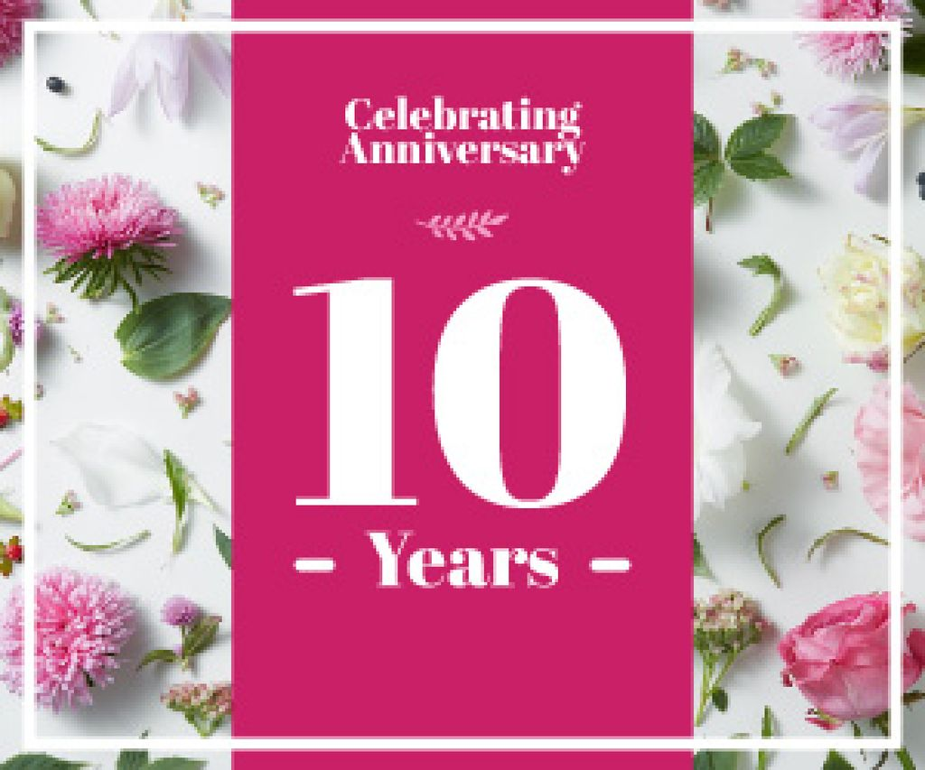 celebrating anniversary poster with flowers — Create a Design
