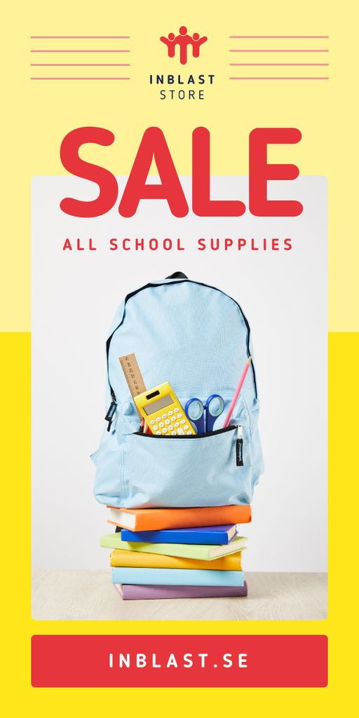 School Supplies Sale Backpack with Stationery Graphic Design Template