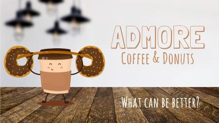 Template di design Coffee and Donuts Offer with Take Away Cup Full HD video