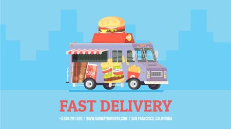 Food Delivery Van with Burger Full HD video Tasarım Şablonu