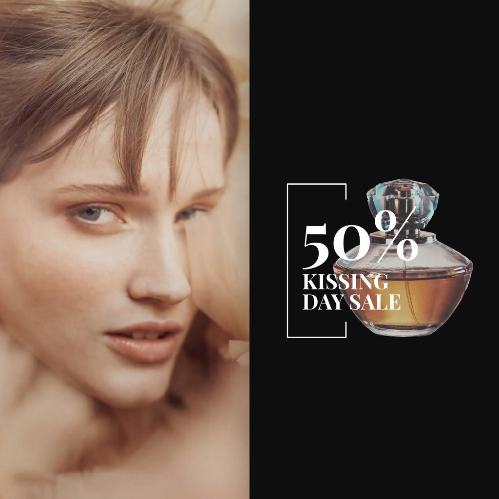 Special Offer Beautiful Tender Woman with Perfume Bottle — ein Design erstellen