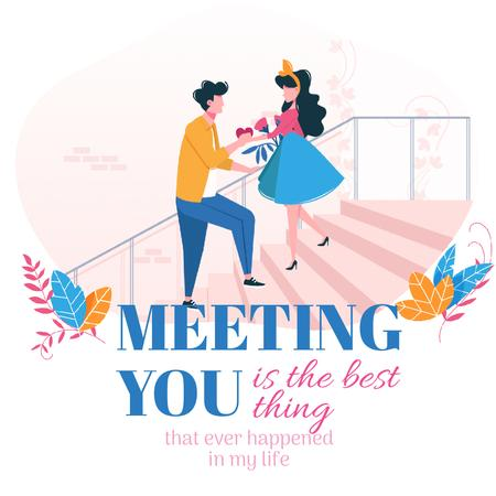 Valentine's Card with Happy romantic Couple Animated Post Tasarım Şablonu