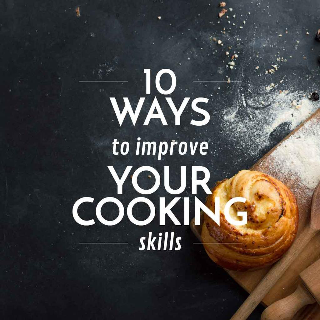 Improving Cooking Skills poster with freshly baked bun — Crear un diseño