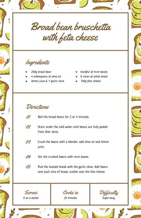 Modèle de visuel Broad bean Bruschetta - Recipe Card