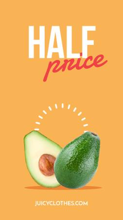 Sale announcement Avocado Cut in Halves Instagram Video Story – шаблон для дизайна