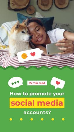 Ontwerpsjabloon van Instagram Video Story van Social Media Content Woman taking Selfie with Dog