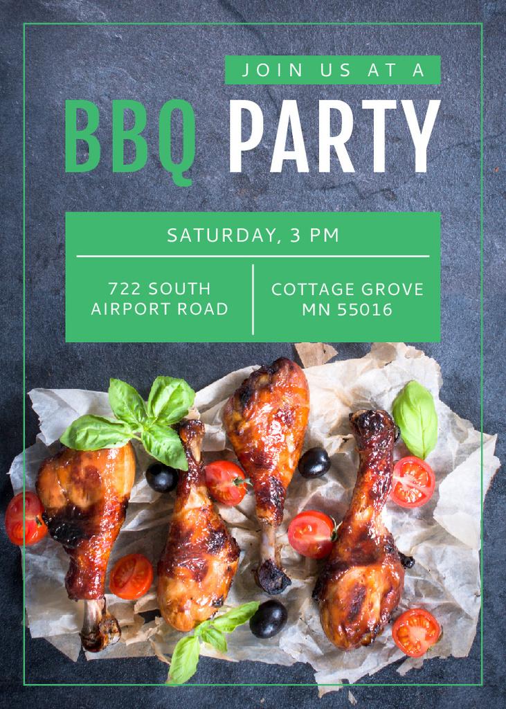 BBQ Party Invitation Grilled Chicken Flayer – шаблон для дизайна