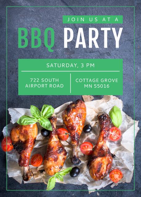Designvorlage BBQ Party Invitation Grilled Chicken für Flayer