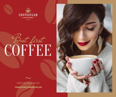 Template di design Woman holding coffee cup Facebook