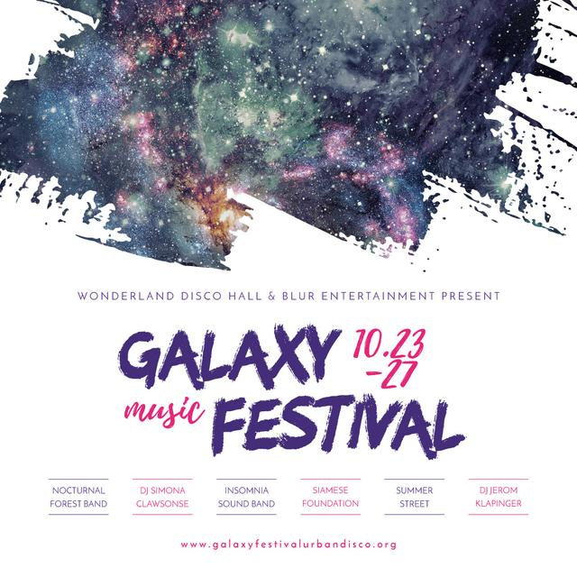 Galaxy Music festival with dark sky Instagram AD – шаблон для дизайну