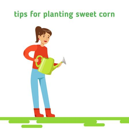 Ontwerpsjabloon van Animated Post van Girl watering corn plants