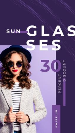 Beautiful young girl in sunglasses Instagram Story Design Template
