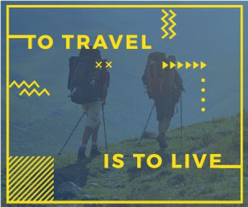 Mountain Trip Inspiration Hikers in Mountains | Medium Rectangle Template