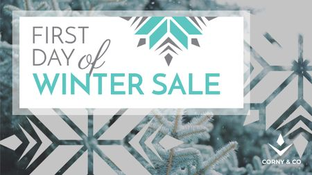 Plantilla de diseño de First day of Winter sale with frozen fir Title