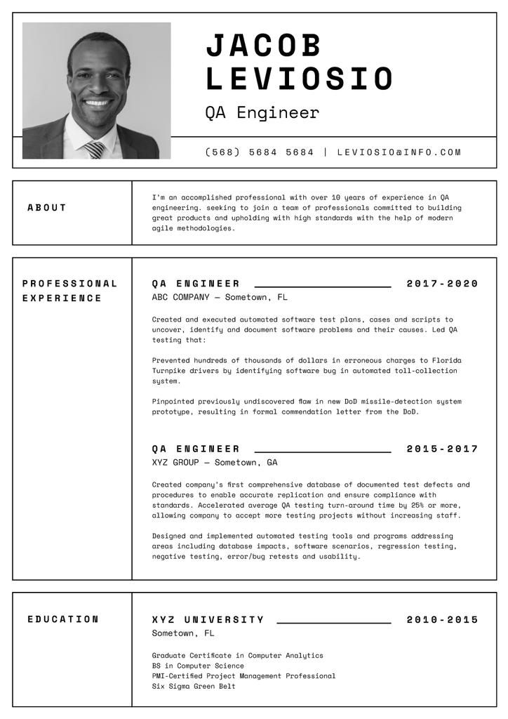 QA Engineer professional profile Resume Modelo de Design